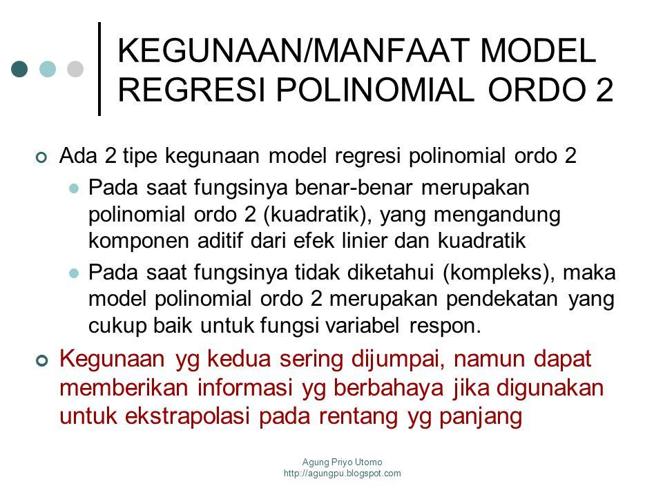 Agung Priyo Utomo http://agungpu.blogspot.com MODEL REGRESI POLINOMIAL ORDO 2 DG 2 VARIABLE BEBAS Model regresi polinomial ordo yg lebih tinggi jarang digunakan karena sulit dalam menginterpretasikan koefisien regresi.
