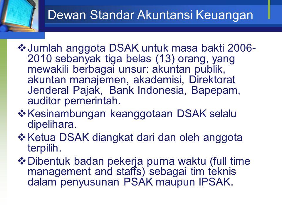 Dewan Standar Akuntansi Keuangan  Jumlah anggota DSAK untuk masa bakti 2006- 2010 sebanyak tiga belas (13) orang, yang mewakili berbagai unsur: akunt