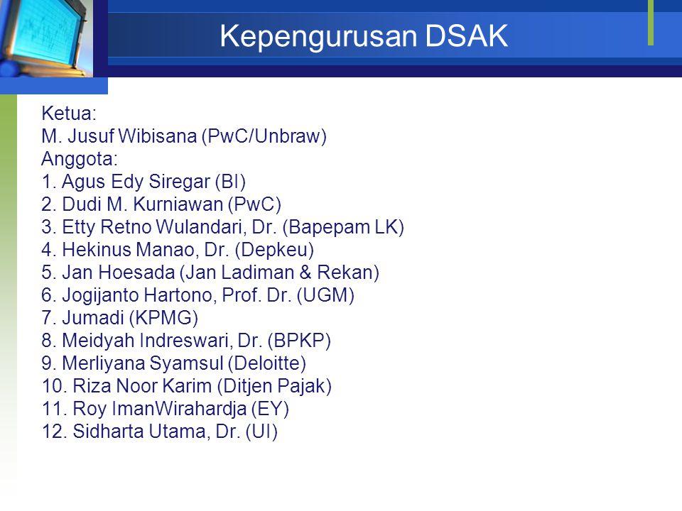 Kepengurusan DSAK Ketua: M. Jusuf Wibisana (PwC/Unbraw) Anggota: 1. Agus Edy Siregar (BI) 2. Dudi M. Kurniawan (PwC) 3. Etty Retno Wulandari, Dr. (Bap