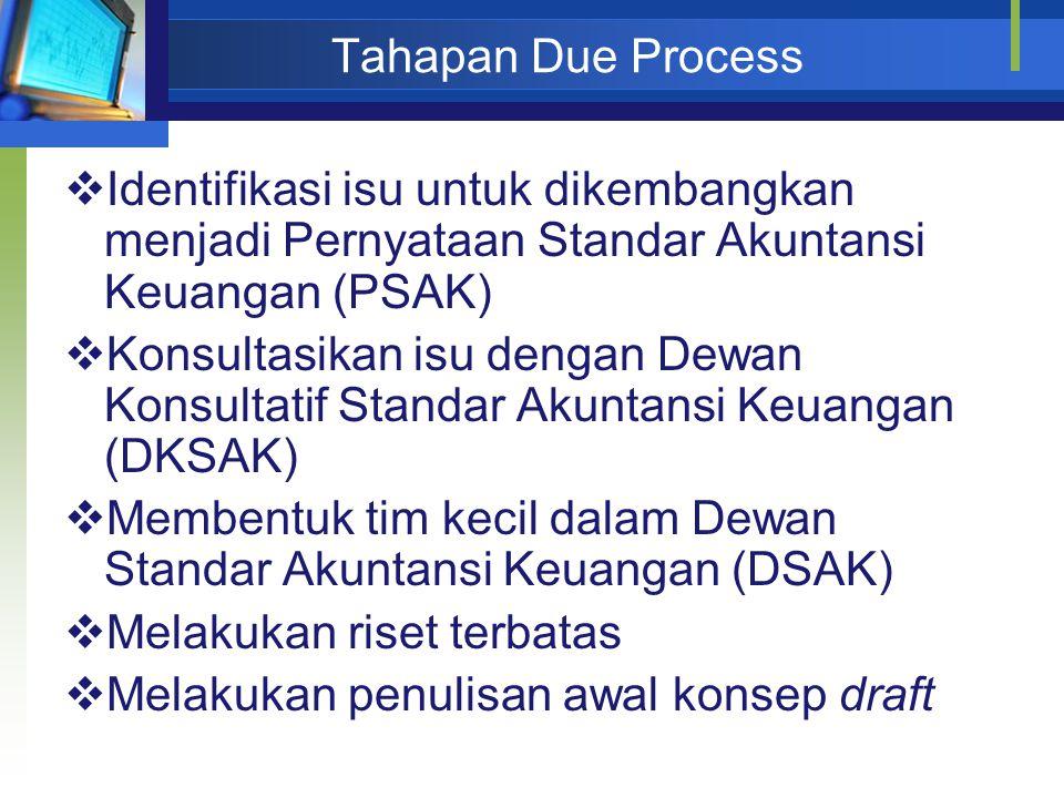 Tahapan Due Process  Identifikasi isu untuk dikembangkan menjadi Pernyataan Standar Akuntansi Keuangan (PSAK)  Konsultasikan isu dengan Dewan Konsul