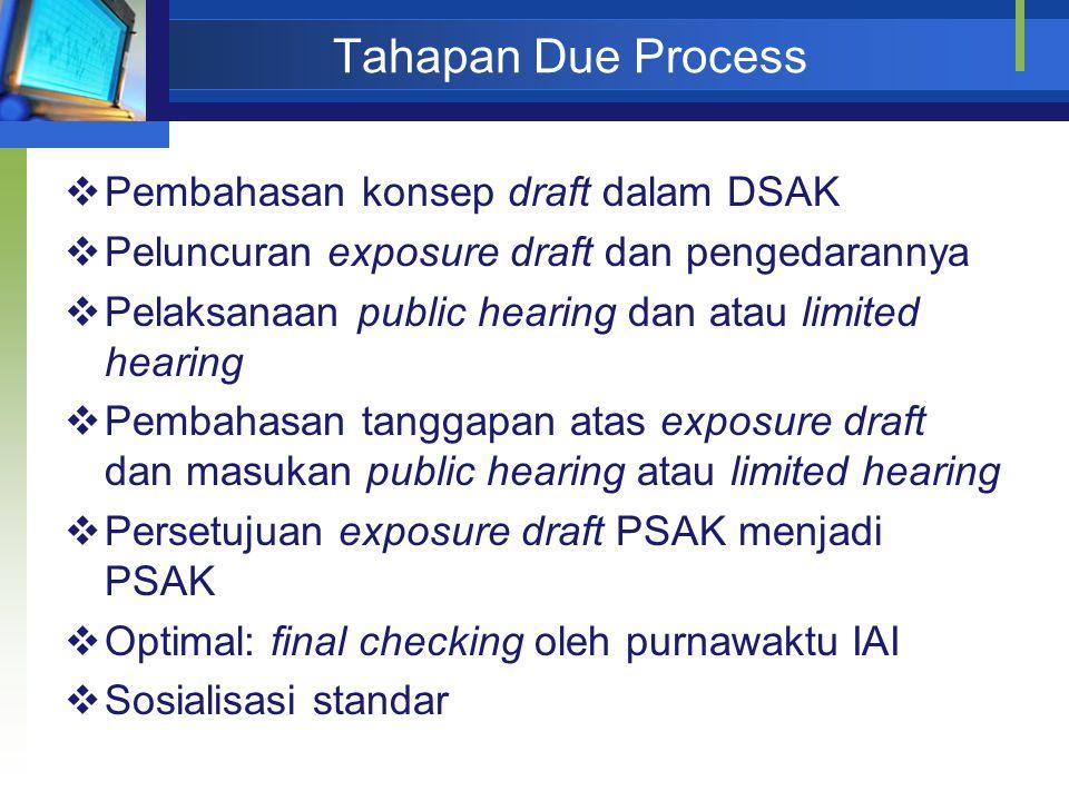 Tahapan Due Process  Pembahasan konsep draft dalam DSAK  Peluncuran exposure draft dan pengedarannya  Pelaksanaan public hearing dan atau limited h