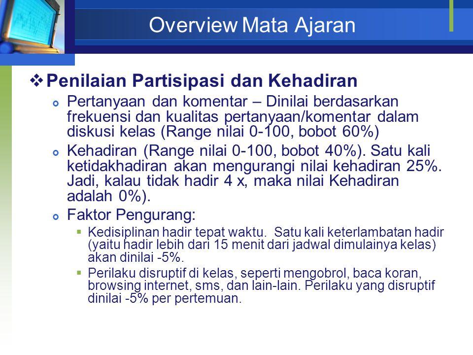 Overview Mata Ajaran  Penilaian Partisipasi dan Kehadiran  Pertanyaan dan komentar – Dinilai berdasarkan frekuensi dan kualitas pertanyaan/komentar