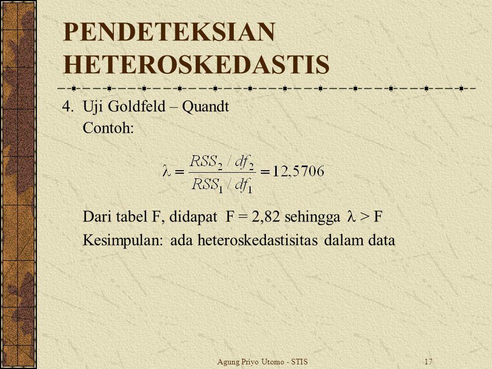 Agung Priyo Utomo - STIS17 PENDETEKSIAN HETEROSKEDASTIS 4.Uji Goldfeld – Quandt Contoh: Dari tabel F, didapat F = 2,82 sehingga > F Kesimpulan: ada heteroskedastisitas dalam data