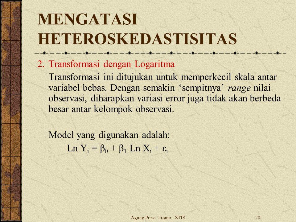 Agung Priyo Utomo - STIS20 MENGATASI HETEROSKEDASTISITAS 2.Transformasi dengan Logaritma Transformasi ini ditujukan untuk memperkecil skala antar variabel bebas.