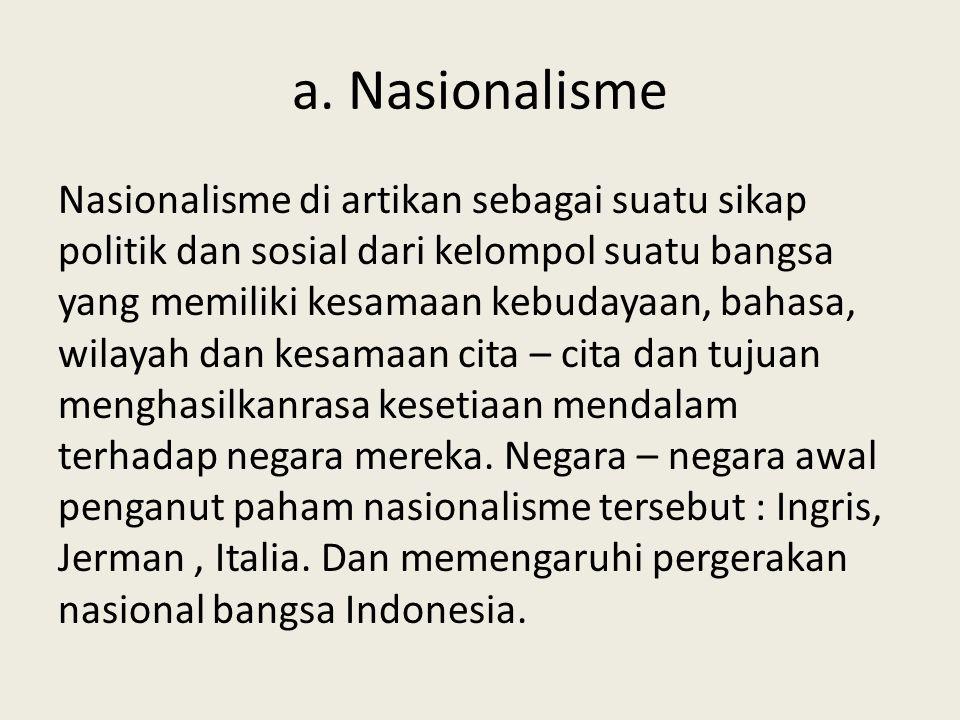 b.Liberalisme Kemerdekaan atau kebebasan pendukung utamanya kaum borjuis dan golongan terpelajar.
