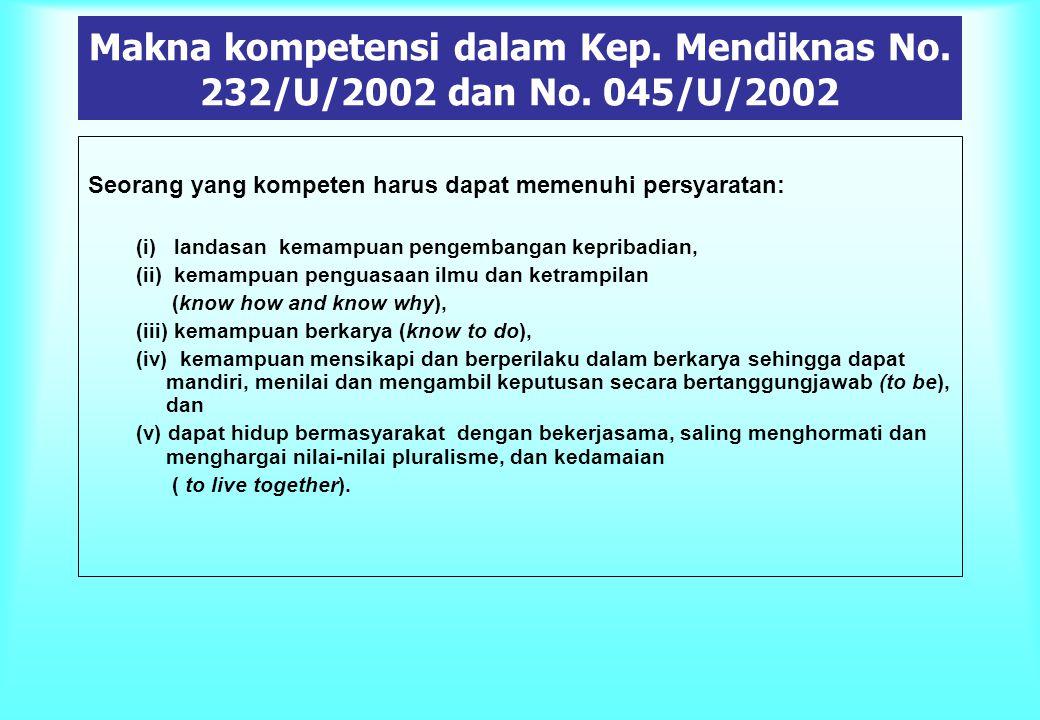 Makna kompetensi dalam Kep. Mendiknas No. 232/U/2002 dan No. 045/U/2002 Seorang yang kompeten harus dapat memenuhi persyaratan: (i) landasan kemampuan