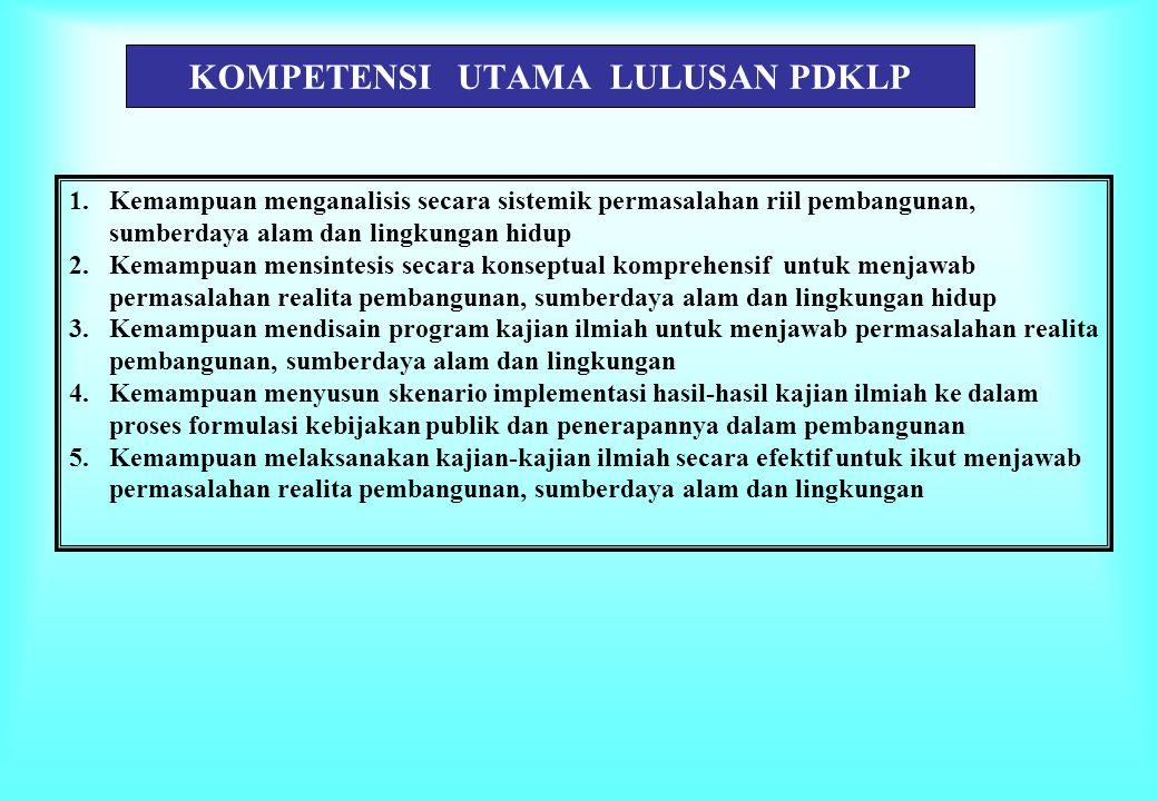 KOMPETENSI UTAMA LULUSAN PDKLP 1.Kemampuan menganalisis secara sistemik permasalahan riil pembangunan, sumberdaya alam dan lingkungan hidup 2.Kemampua