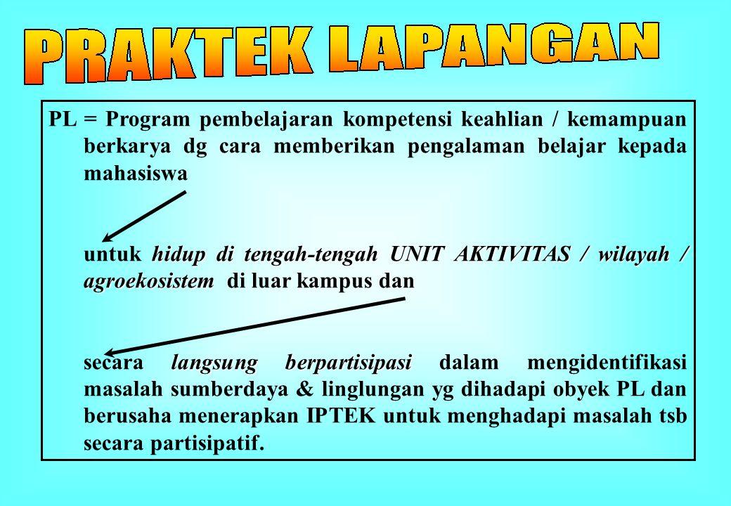 PL = Program pembelajaran kompetensi keahlian / kemampuan berkarya dg cara memberikan pengalaman belajar kepada mahasiswa hidup di tengah-tengah UNIT