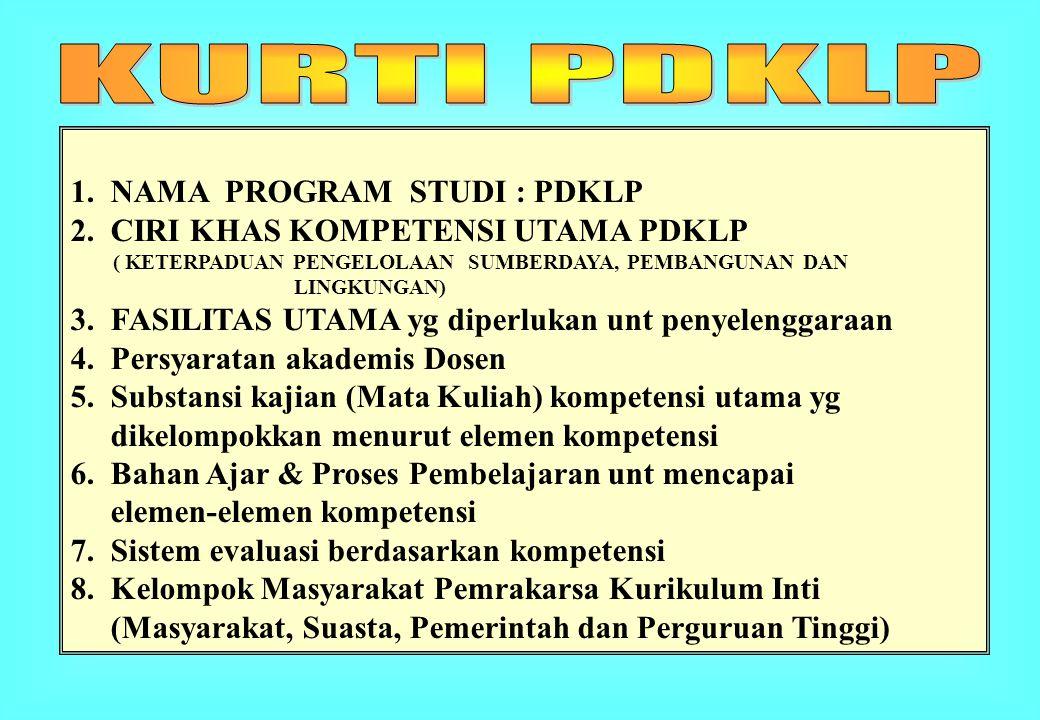 1. NAMA PROGRAM STUDI : PDKLP 2. CIRI KHAS KOMPETENSI UTAMA PDKLP ( KETERPADUAN PENGELOLAAN SUMBERDAYA, PEMBANGUNAN DAN LINGKUNGAN) 3. FASILITAS UTAMA