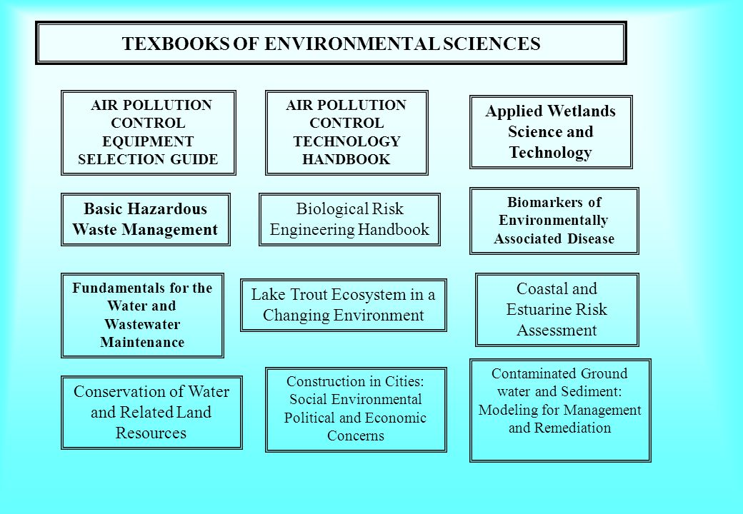 TEXBOOKS OF ENVIRONMENTAL SCIENCES Applied Wetlands Science and Technology AIR POLLUTION CONTROL TECHNOLOGY HANDBOOK Basic Hazardous Waste Management