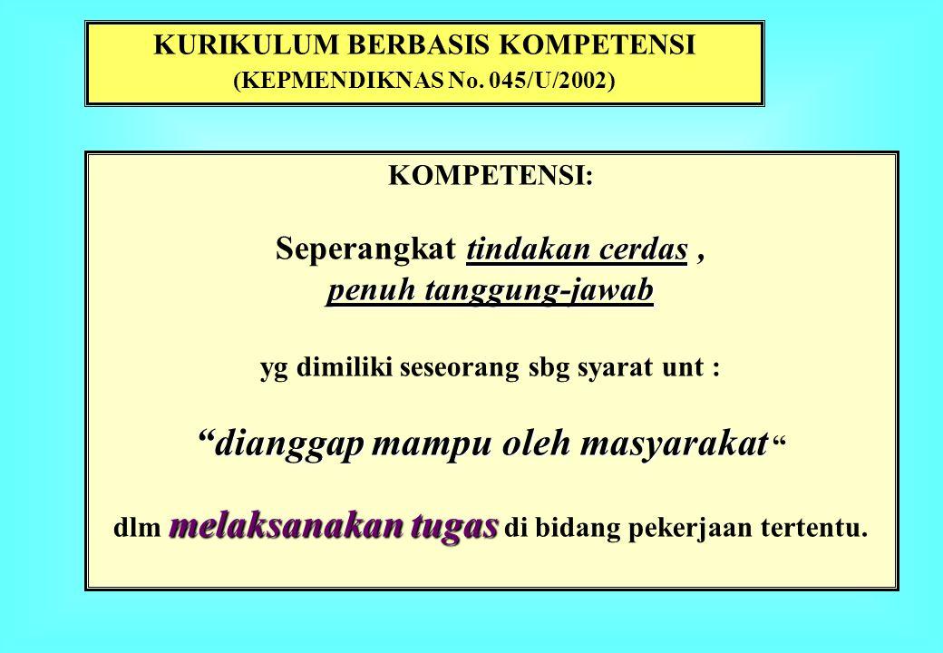 KURIKULUM BERBASIS KOMPETENSI (KEPMENDIKNAS No. 045/U/2002) KOMPETENSI: tindakan cerdas Seperangkat tindakan cerdas, penuh tanggung-jawab yg dimiliki