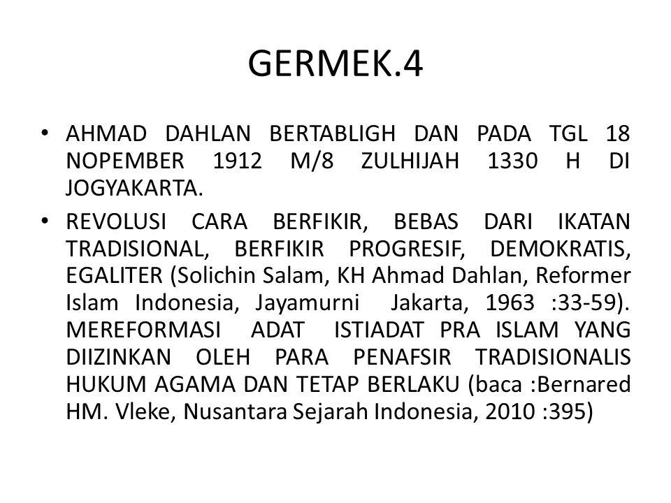 GERMEK.4 AHMAD DAHLAN BERTABLIGH DAN PADA TGL 18 NOPEMBER 1912 M/8 ZULHIJAH 1330 H DI JOGYAKARTA. REVOLUSI CARA BERFIKIR, BEBAS DARI IKATAN TRADISIONA