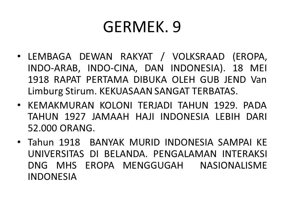 GERMEK. 9 LEMBAGA DEWAN RAKYAT / VOLKSRAAD (EROPA, INDO-ARAB, INDO-CINA, DAN INDONESIA). 18 MEI 1918 RAPAT PERTAMA DIBUKA OLEH GUB JEND Van Limburg St
