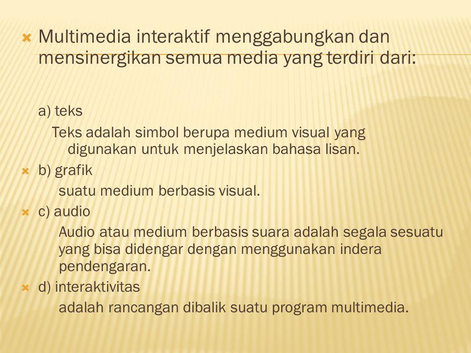  Multimedia interaktif menggabungkan dan mensinergikan semua media yang terdiri dari: a) teks Teks adalah simbol berupa medium visual yang digunakan