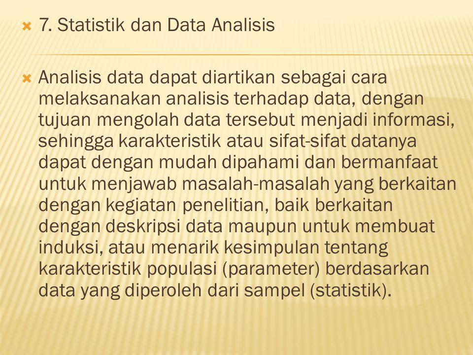  7. Statistik dan Data Analisis  Analisis data dapat diartikan sebagai cara melaksanakan analisis terhadap data, dengan tujuan mengolah data tersebu