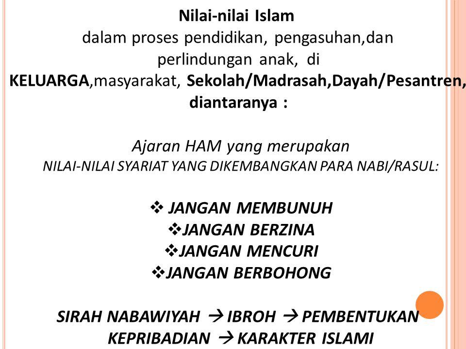 Nilai-nilai Islam dalam proses pendidikan, pengasuhan,dan perlindungan anak, di KELUARGA,masyarakat, Sekolah/Madrasah,Dayah/Pesantren, diantaranya : A