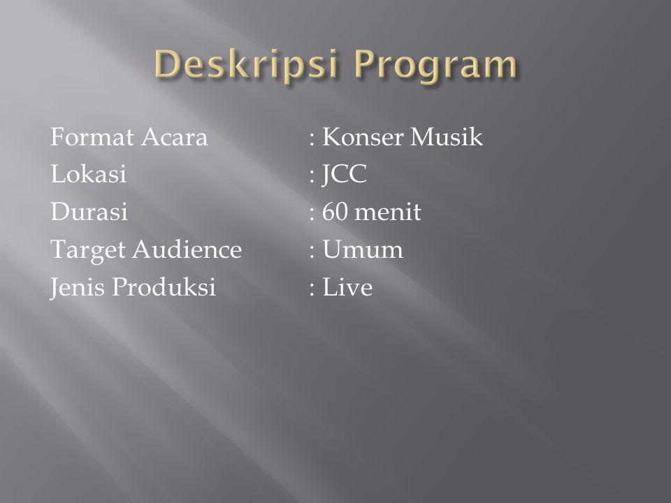 Format Acara: Konser Musik Lokasi: JCC Durasi: 60 menit Target Audience: Umum Jenis Produksi: Live