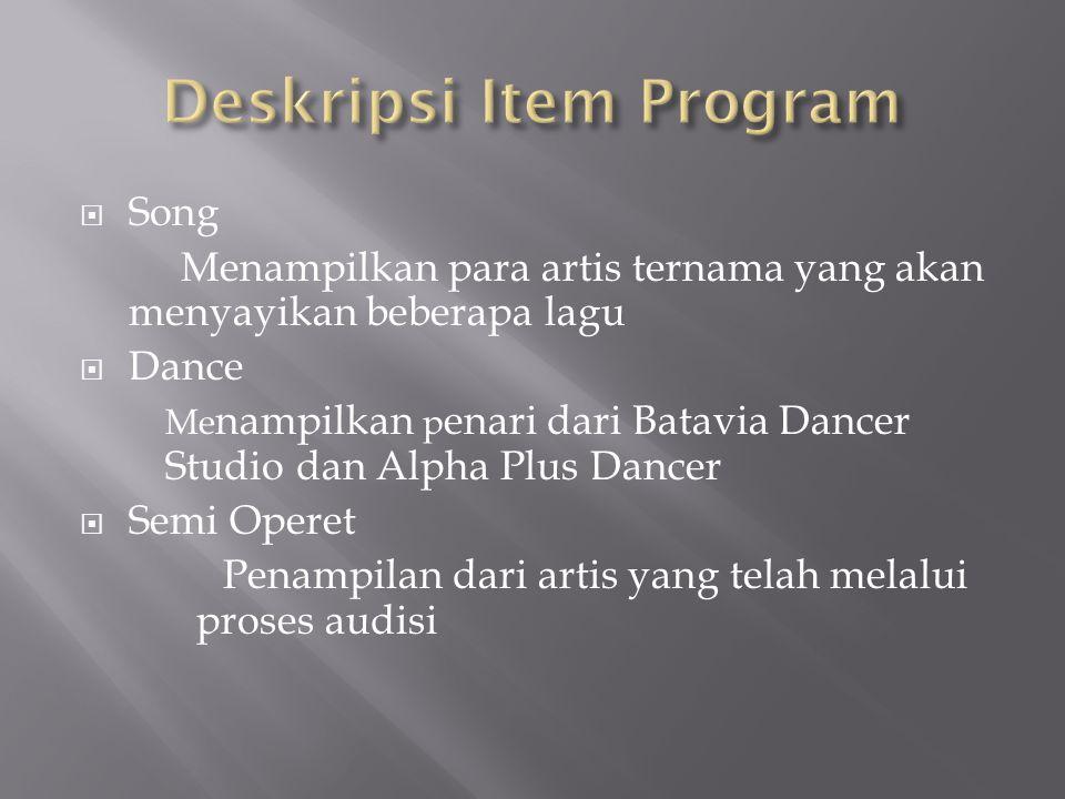  Song Menampilkan para artis ternama yang akan menyayikan beberapa lagu  Dance Me nampilkan p enari dari Batavia Dancer Studio dan Alpha Plus Dancer  Semi Operet Penampilan dari artis yang telah melalui proses audisi