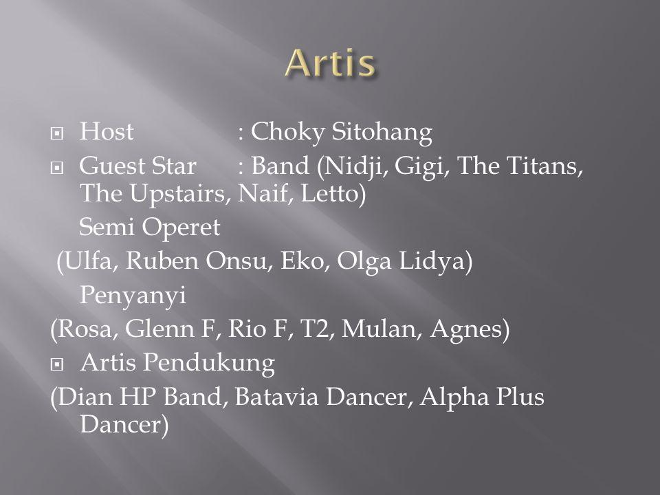  Host: Choky Sitohang  Guest Star: Band (Nidji, Gigi, The Titans, The Upstairs, Naif, Letto) Semi Operet (Ulfa, Ruben Onsu, Eko, Olga Lidya) Penyany