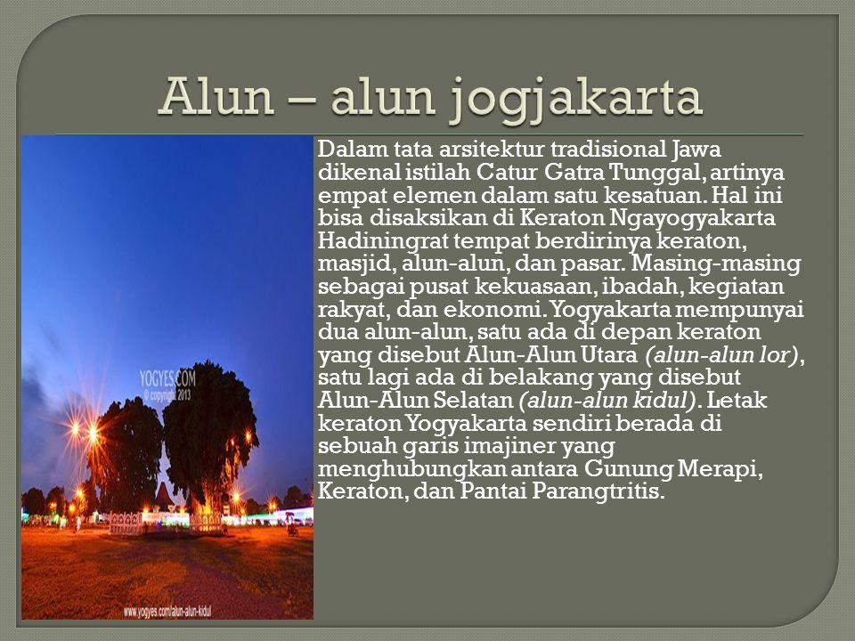 Dalam tata arsitektur tradisional Jawa dikenal istilah Catur Gatra Tunggal, artinya empat elemen dalam satu kesatuan. Hal ini bisa disaksikan di Kerat