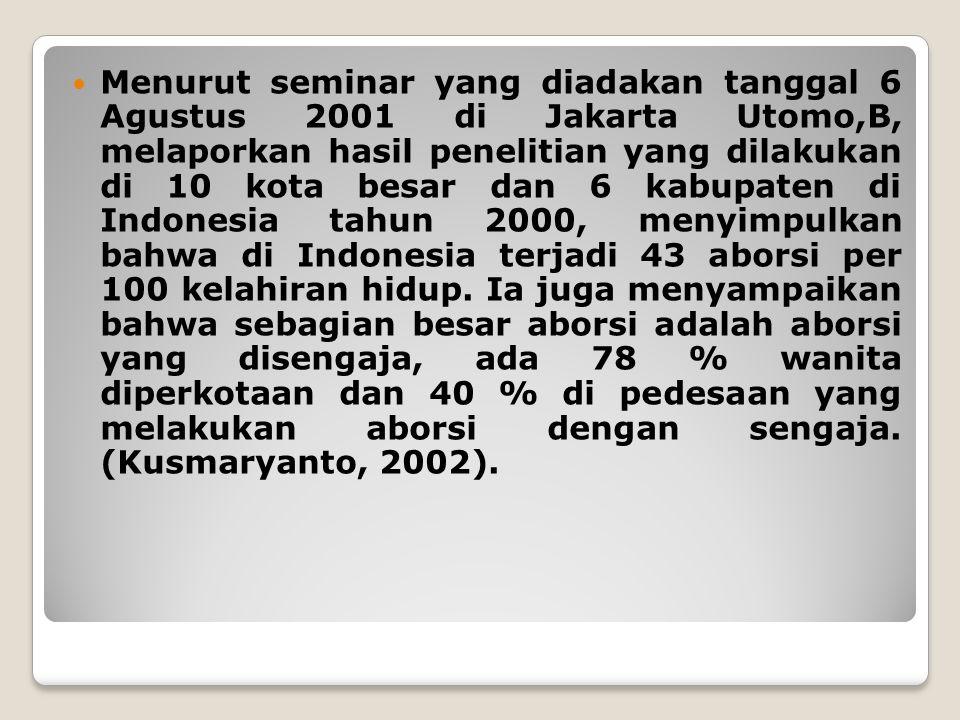 Menurut seminar yang diadakan tanggal 6 Agustus 2001 di Jakarta Utomo,B, melaporkan hasil penelitian yang dilakukan di 10 kota besar dan 6 kabupaten di Indonesia tahun 2000, menyimpulkan bahwa di Indonesia terjadi 43 aborsi per 100 kelahiran hidup.
