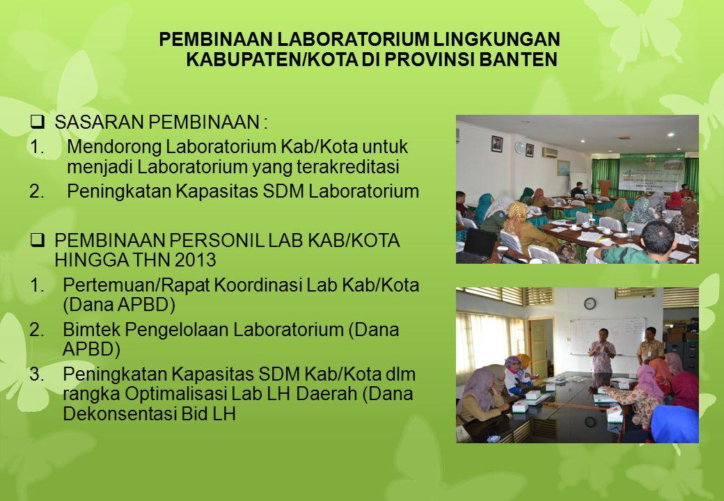 SSASARAN PEMBINAAN : 1.Mendorong Laboratorium Kab/Kota untuk menjadi Laboratorium yang terakreditasi 2.Peningkatan Kapasitas SDM Laboratorium PPEM