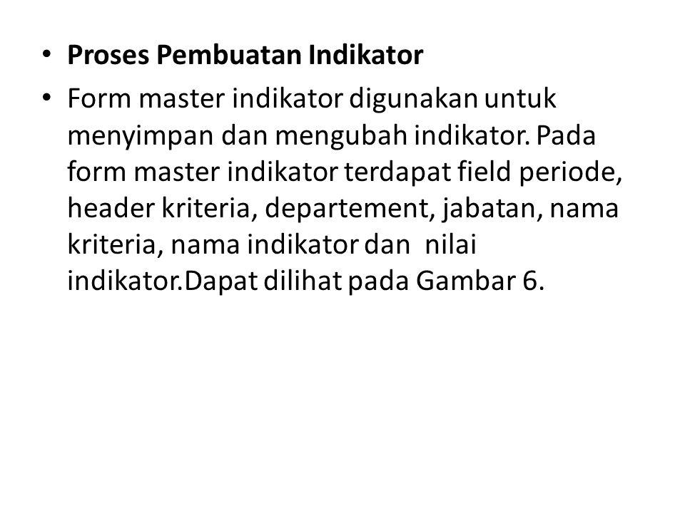 Proses Pembuatan Indikator Form master indikator digunakan untuk menyimpan dan mengubah indikator.