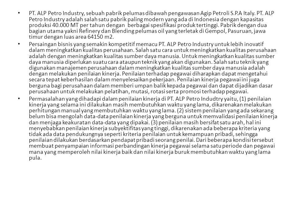 PT.ALP Petro Industry, sebuah pabrik pelumas dibawah pengawasan Agip Petroli S.P.A Italy.