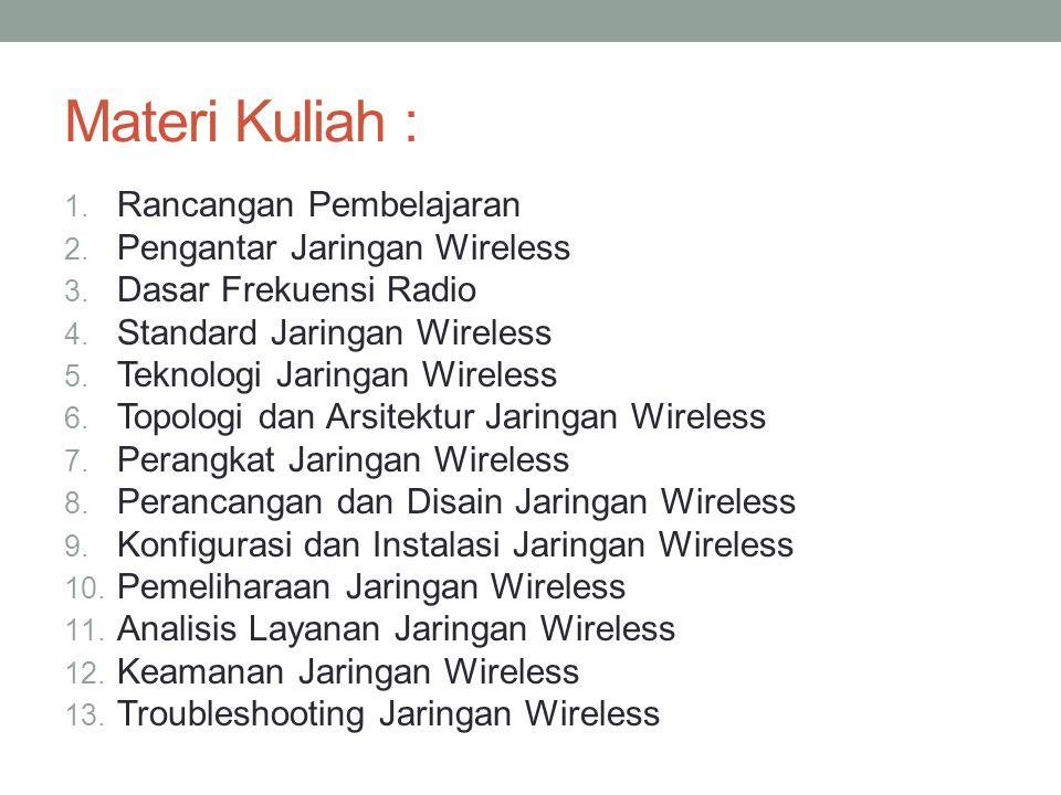 Materi Kuliah : 1.Rancangan Pembelajaran 2. Pengantar Jaringan Wireless 3.