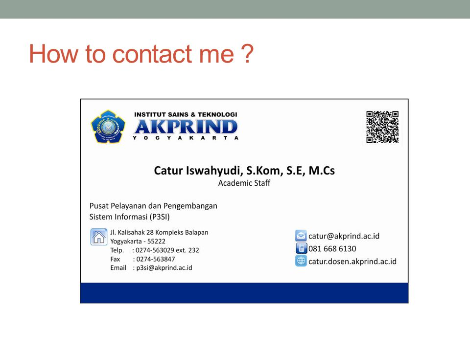 How to contact me ?