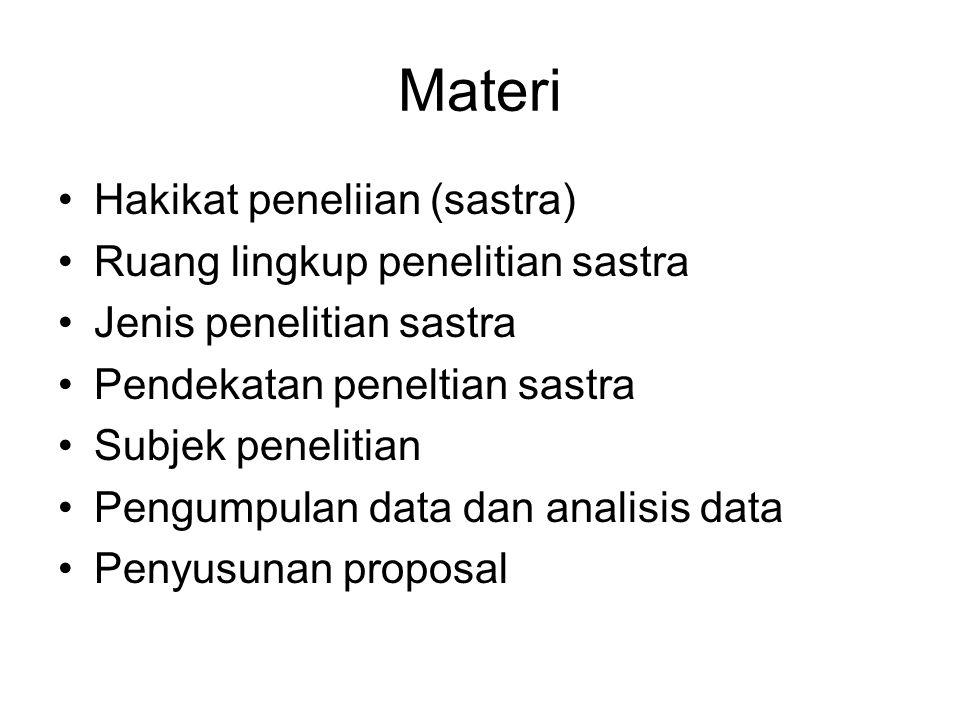 Materi Hakikat peneliian (sastra) Ruang lingkup penelitian sastra Jenis penelitian sastra Pendekatan peneltian sastra Subjek penelitian Pengumpulan data dan analisis data Penyusunan proposal