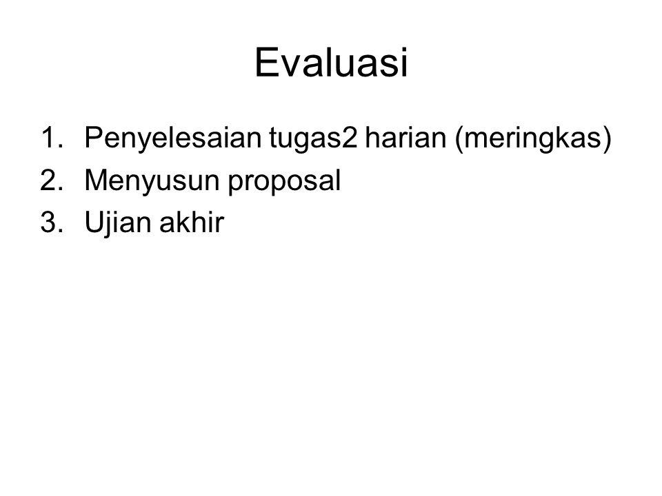 Evaluasi 1.Penyelesaian tugas2 harian (meringkas) 2.Menyusun proposal 3.Ujian akhir
