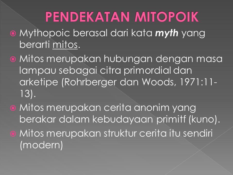 Mythopoic berasal dari kata myth yang berarti mitos.