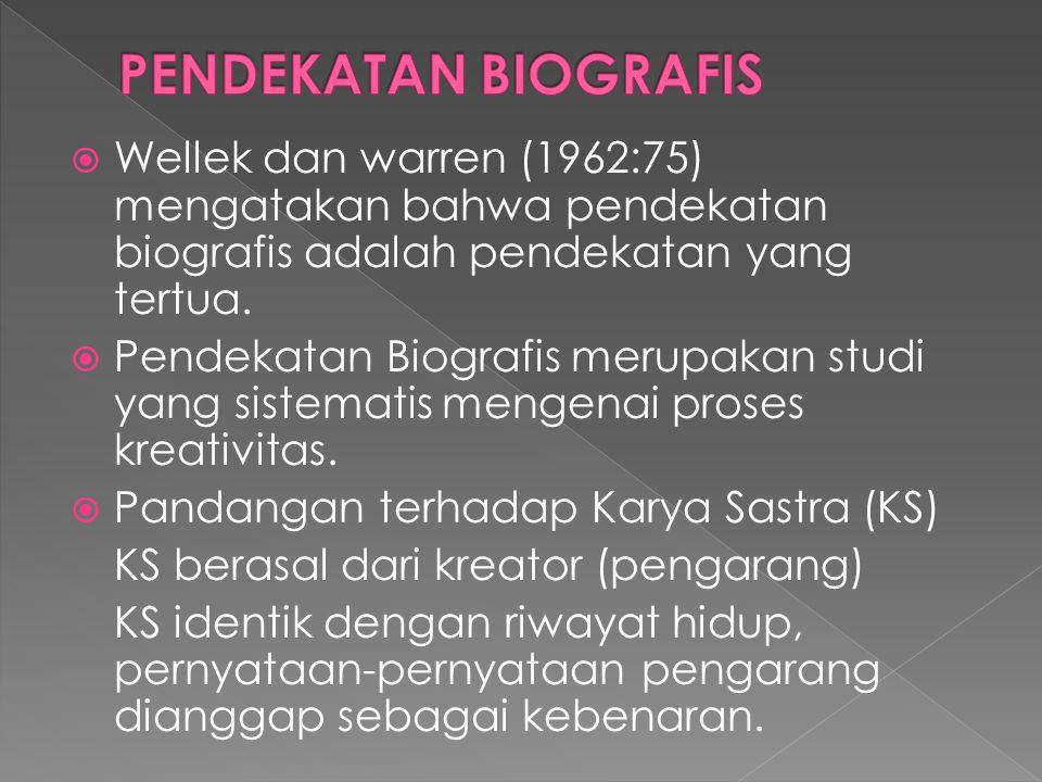  Wellek dan warren (1962:75) mengatakan bahwa pendekatan biografis adalah pendekatan yang tertua.