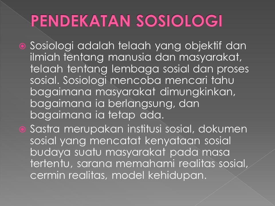  Sosiologi adalah telaah yang objektif dan ilmiah tentang manusia dan masyarakat, telaah tentang lembaga sosial dan proses sosial.
