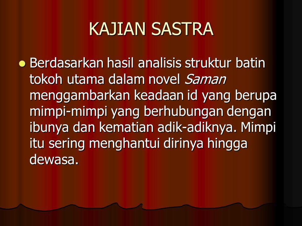 KAJIAN SASTRA Berdasarkan hasil analisis struktur batin tokoh utama dalam novel Saman menggambarkan keadaan id yang berupa mimpi-mimpi yang berhubunga
