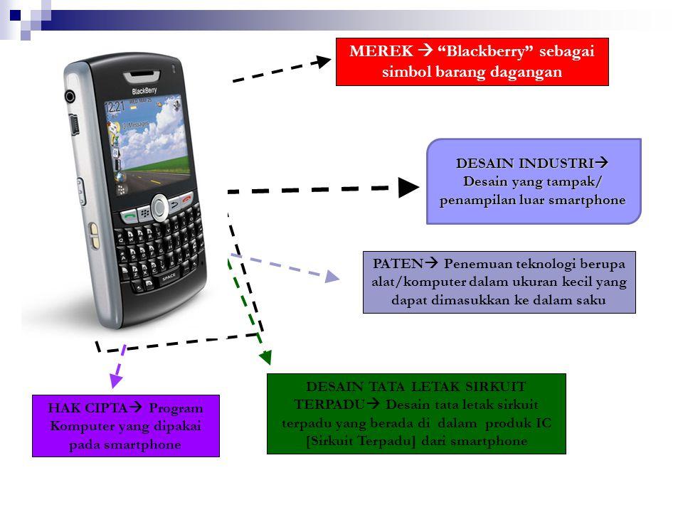 """MEREK  """"Blackberry"""" sebagai simbol barang dagangan PATEN  Penemuan teknologi berupa alat/komputer dalam ukuran kecil yang dapat dimasukkan ke dalam"""