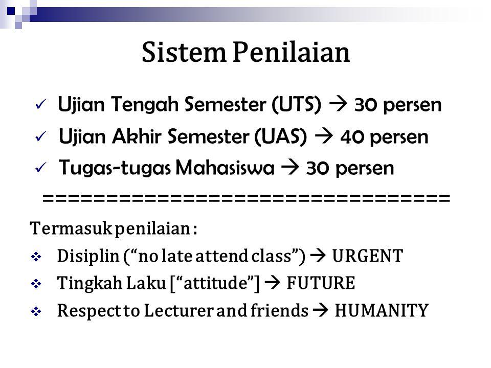 Sistem Penilaian Ujian Tengah Semester (UTS)  30 persen Ujian Akhir Semester (UAS)  40 persen Tugas-tugas Mahasiswa  30 persen ====================
