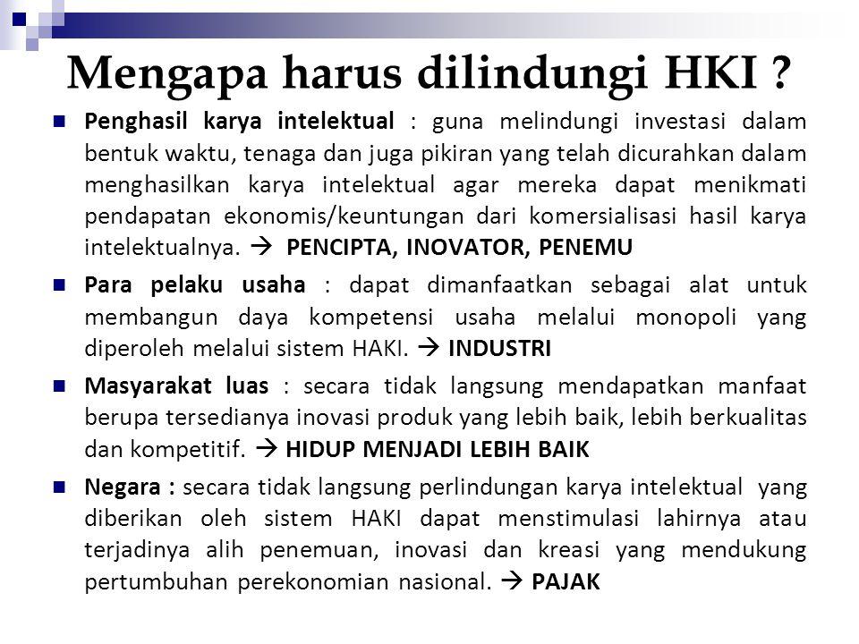 Mengapa harus dilindungi HKI ? Penghasil karya intelektual : guna melindungi investasi dalam bentuk waktu, tenaga dan juga pikiran yang telah dicurahk