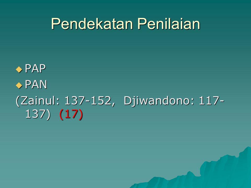 Pendekatan Penilaian  PAP  PAN (Zainul: 137-152, Djiwandono: 117- 137) (17)
