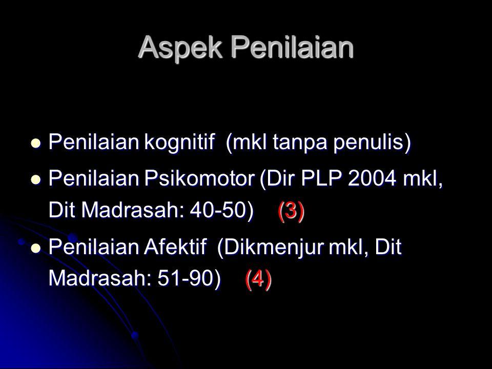 Aspek Penilaian Penilaian kognitif (mkl tanpa penulis) Penilaian kognitif (mkl tanpa penulis) Penilaian Psikomotor (Dir PLP 2004 mkl, Dit Madrasah: 40
