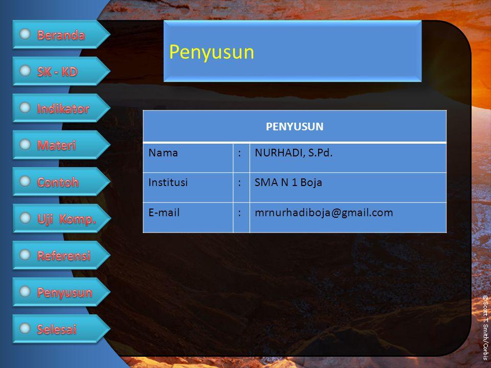 Penyusun PENYUSUN Nama:NURHADI, S.Pd. Institusi:SMA N 1 Boja E-mail:mrnurhadiboja@gmail.com