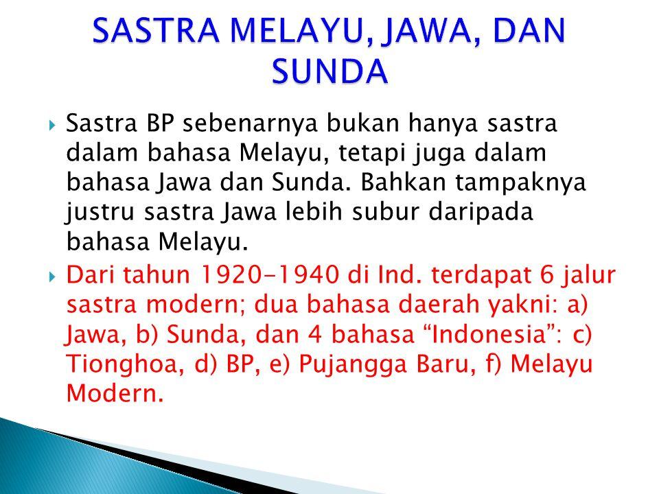  Sastra BP sebenarnya bukan hanya sastra dalam bahasa Melayu, tetapi juga dalam bahasa Jawa dan Sunda. Bahkan tampaknya justru sastra Jawa lebih subu