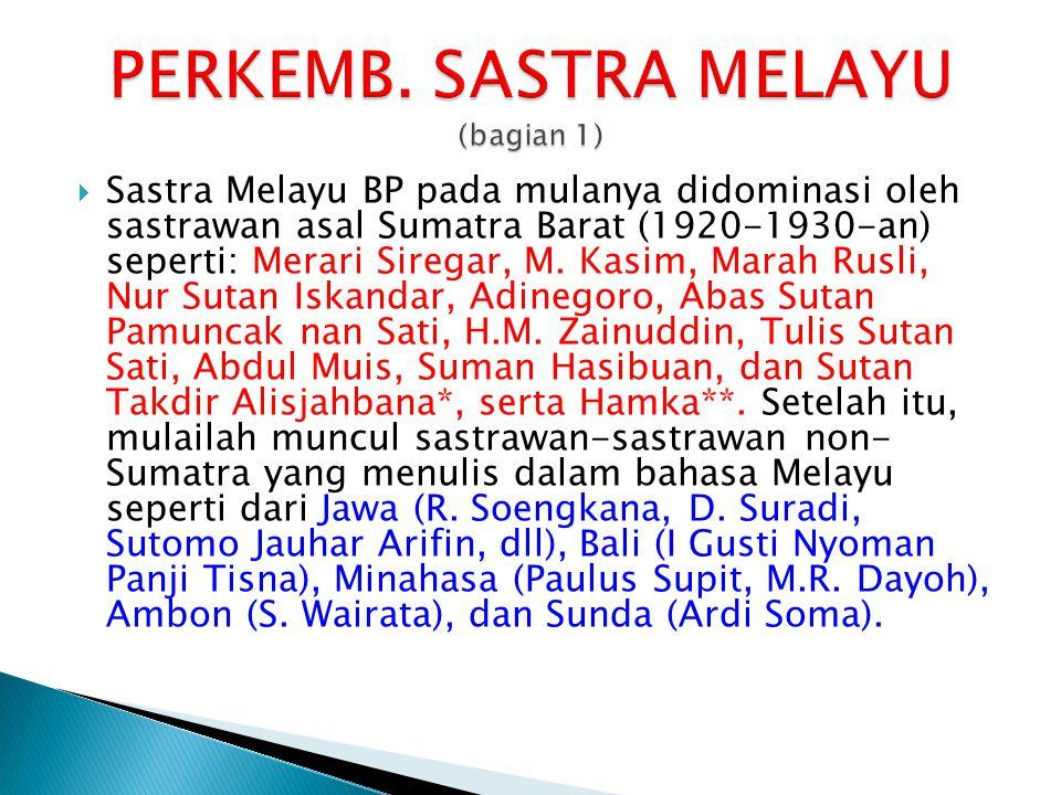  Sastra Melayu BP pada mulanya didominasi oleh sastrawan asal Sumatra Barat (1920-1930-an) seperti: Merari Siregar, M. Kasim, Marah Rusli, Nur Sutan