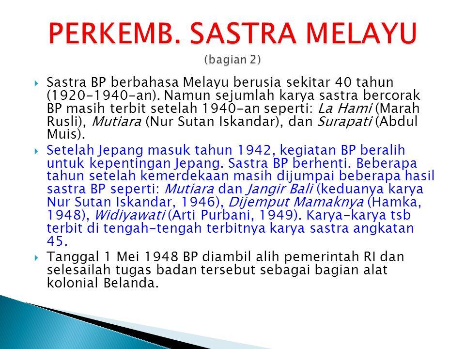  Sastra BP berbahasa Melayu berusia sekitar 40 tahun (1920-1940-an). Namun sejumlah karya sastra bercorak BP masih terbit setelah 1940-an seperti: La