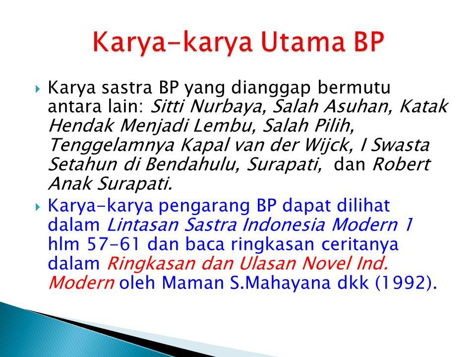  Karya sastra BP yang dianggap bermutu antara lain: Sitti Nurbaya, Salah Asuhan, Katak Hendak Menjadi Lembu, Salah Pilih, Tenggelamnya Kapal van der