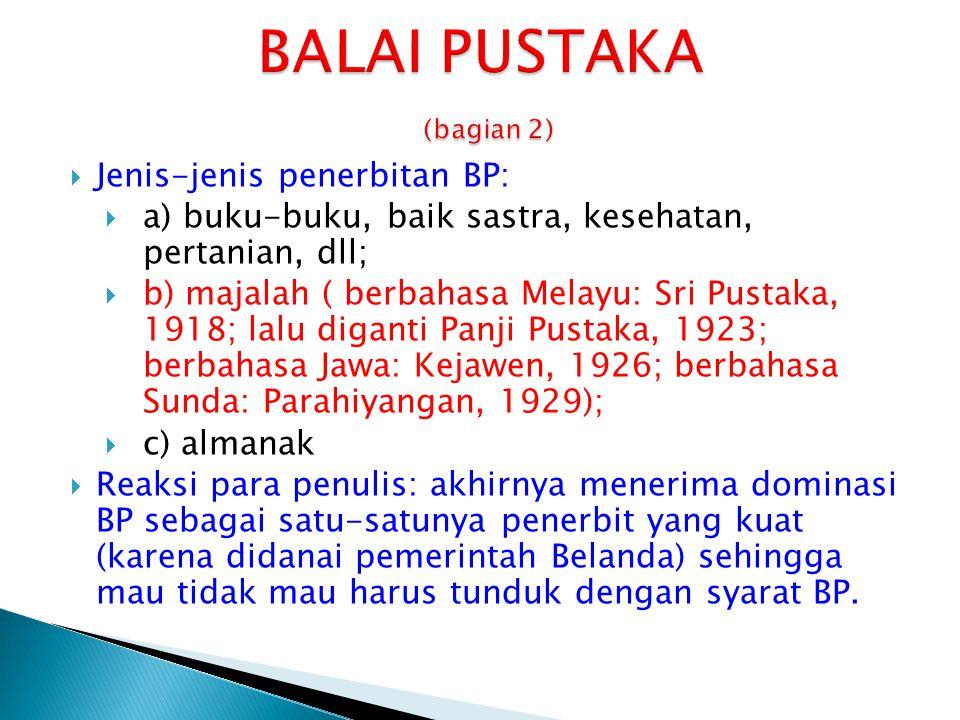  Jenis-jenis penerbitan BP:  a) buku-buku, baik sastra, kesehatan, pertanian, dll;  b) majalah ( berbahasa Melayu: Sri Pustaka, 1918; lalu diganti
