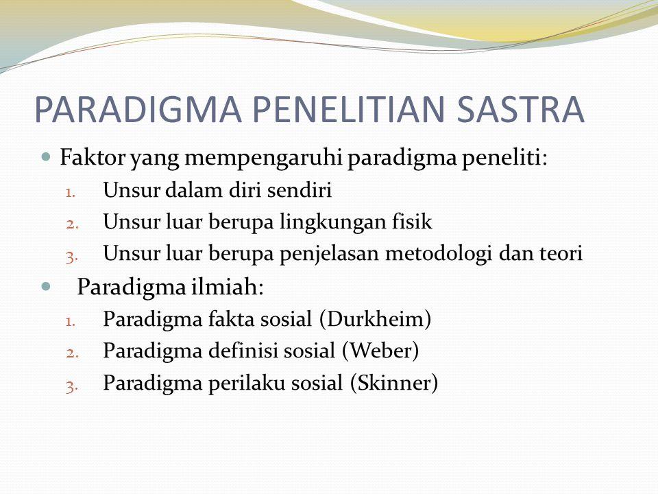PARADIGMA PENELITIAN SASTRA Faktor yang mempengaruhi paradigma peneliti: 1.