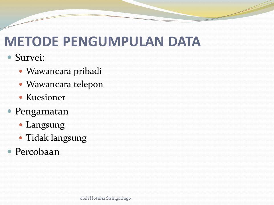 oleh Hotniar Siringoringo METODE PENGUMPULAN DATA Survei: Wawancara pribadi Wawancara telepon Kuesioner Pengamatan Langsung Tidak langsung Percobaan