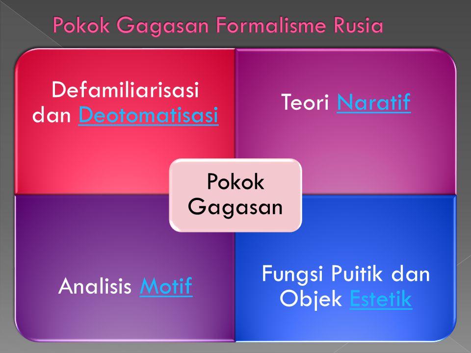 Defamiliarisasi dan DeotomatisasiDeotomatisasi Teori NaratifNaratif Analisis MotifMotif Fungsi Puitik dan Objek EstetikEstetik Pokok Gagasan